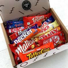 A selection box of crunchy biscuit British chocolate bars