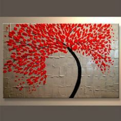 """""""THE RED TEXTURED TREE"""" $ 47.99 A RED POWERFUL CURVED TREE KNIFE PAINTING THAT IS SIMPLE & CHIC. http://www.yourartanddecor.com/collections/frontpage/products/the-red-tree-framed-1-piece-wall-art-with-free-shipping-knife-painting       THIS ABSTRACT MODERN ART PIECE IS HAND PAINTED ON CANVAS, FRAMED AND COMES IN 1 PIECES.     FREE SHIPPING.     SIZE: 90x60cm (36x24inch)     DONE BY HAND.     COVERED BY OUR MONEY BACK GUARANTEE"""