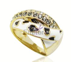 beautiful classical gold plated fashion rings with jet & deep green crystal for cool girl
