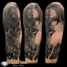 Black and Grey skul woman