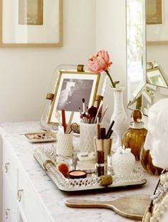Trays are a great way to keep your vanity looking neat and lovely