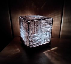 SAM 1746b 600x544 Cube Lamp in lights cardboard  with Upcycled Recycled Light Lamp Furniture design Cardboard