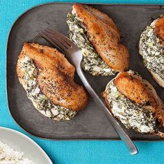 Spinach and Feta stuffed Chicken.  Combine: 3/4 cup crumbled feta, 1/2 cup thawed frozen chopped spinach, 3 tbsp. cream cheese, 1/4 cup scallions, 2 cloves garlic minced. Slice a pocket along the chicken, season and stuff the mixture inside. Heat 3 tbs EVOO on skillet on medium high about 4 min each side. Put in oven and bake 5-7 minutes.
