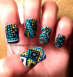 Intricate Aztec/Tribal Fake nails by CompulsiveNails on Etsy, $36.00