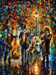Park Band | Musician Painting Oil On Canvas by Leonid Afremov with Pin-It-Button on FineArtAmerica