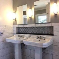 We love the embedded wall shelf. That's sure to save a lot of room. Bathroom Goals, Bathroom Inspo, Design Bathroom, Bathroom Inspiration, Widespread Bathroom Faucet, Lavatory Faucet, Bathroom Faucets, Bathroom Remodeling, Home Remodeling