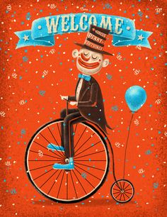 Penny-farthings circus by Den Parukedonos, via Behance