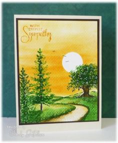 Lovely as a tree, SU!, Road: stampscapes, Stamped the curvilier road with stazon green, masked the moon, inked the sky, added the trees & then sponged colors into the foreground, frenziedstamper
