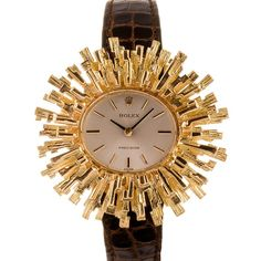 Rolex Geneva Lady's Gold Modernist Wristwatch I love this look! I love how it could be a sun or flower! Rolex Geneva Lady's Gold Modernist Wristwatch I love this look! I love how it could be a sun or flower! Elegant Watches, Stylish Watches, Luxury Watches, Rolex Watches, Watches For Men, Wrist Watches, Unique Watches, Ladies Watches, Amazing Watches