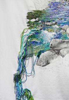 Ana Teresa Barboza (previously) produces embroidered landscapes with wandering streams that break the fourth wall, jumping off their 2D structures and cascading to the floor in waterfalls of blues and greens. The remaining landscape Barboza keeps in black and white, focusing the viewer's ey