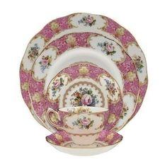 Vintage China Dishes Set Antique Floral Fine Bone Plates Dinner Mug Cup Saucer #VintageChinaDishesSet