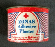 Antique Johnson & Johnson ZONAS Adhesive Plaster Tin