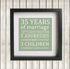 gift ideas for 35th wedding anniversary for parents - Google Search