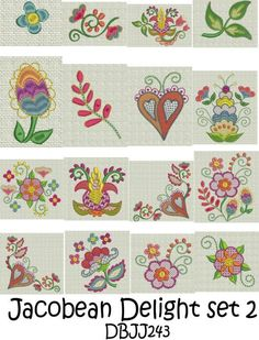 Jacobean Set Machine Embroidery Designs | Designs by JuJu