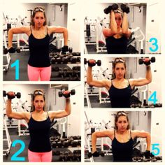 Ultimate arm workout Arms and shoulders, actually. Using a light weight (8 lb. dumbells pictured) start at picture 1. Think: Down, Up, In, Out, Down, while doing this exercise. Do 12-15 repetitions per set, 3 sets total. If you find by rep 10, you can't keep your form and hit your rep, lower the weight. If you're not challenged at rep 15, up the weight. Add this to your workout, once a week, and you'll see a big change!