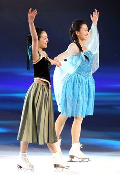 sisters, mao and mai asada, ice dance elsa and anna