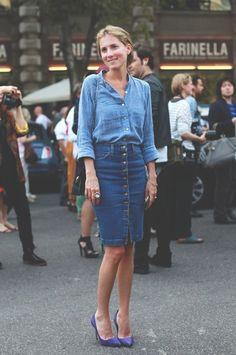 Jeans, blue, azul, , skirt, jeans skirt, jeans t-shirt, looks para se inspirar, inspiration , looks, outfits, style, street style, estilo , fashion, moda