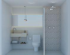 Banheiro Social Cuba esculpida mármore crema marfil, espelho com iluminação indireta, pastilha de mármore. Projeto: Alessandra Onofri