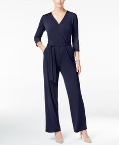 Ny Collection Petite Belted Jumpsuit - Purple P/XL