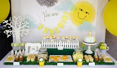 Delightful Sunshine Party Table for 1st Birthday  #sunshineparty #dessertable