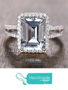 Emerald Cut Aquamarine Engagement Ring Pave Diamond Wedding 14K White Gold 10x12mm Split Shank from the Lord of Gem Rings www.amazon.com/…