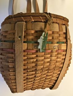 Vintage Woven Wicker Willow Rattan Fishing Basket Fishing Creel with Canvas Backpack Straps by YatsDomino on Etsy