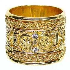 Damaskos Rope Framed Diamond Iraklion Ring. 18k Gold and Diamonds. Greek jewelry at www.athenas-treasures.com