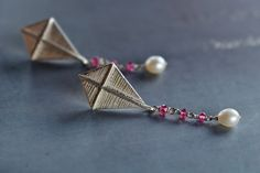 kite earrings in sterling silver, tourmalines and pearls