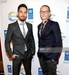Mike Shinoda (L) and Chester Bennington of band Linkin Park attend The United Nations 2014 Equator Prize Gala at Avery Fisher Hall, Lincoln Center on September 22, 2014 in New York City.