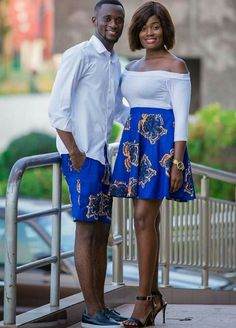 53 Beautiful Ghana Ankara and Aso Ebi styles - Ankara Lovers Couples African Outfits, African Dresses Men, African Shirts, African Inspired Fashion, Latest African Fashion Dresses, Couple Outfits, African Print Fashion, Africa Fashion, African Wedding Attire