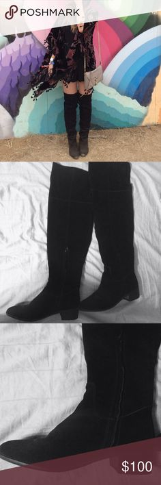 "✨HP✨TYGA STEVE MADDEN Suede Over the Knee Boots Absolutely amazing pair of over the knee boots. The cover photo is me (I'm 5'3"" for reference) Suede is treated with protectant. Worn once to Outside Lands. Some wear, no stains - great condition! 1 1/2"" heel. 20 1/4"" uncuffed boot shaft; 17"" cuffed boot shaft. 15"" calf circumference. Interior partial-side zip closure. Suede upper/synthetic lining and sole. By Steve Madden; imported. Steve Madden Shoes Over the Knee Boots"