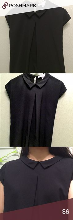 French connection black XS collared top Cute top not sheer at all. Tag is cut off so I can't tell the fabric content. French Connection Tops Blouses