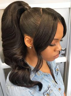 Gorgeous high ponytail 🔥😍who wanna rock it?🤗Thriving Hair Body Wave Virgin Human Hair High Density Pre-Plucked 360 Lace Wigs naturlocken Gorgeous high ponytail 🔥😍who wanna rock it? Easy Hairstyles For Medium Hair, Ponytail Hairstyles, Weave Hairstyles, Hair Updo, Relaxed Hairstyles, Curls Hair, Short Hairstyles, Bob Hairstyle, Short Hair Styles Easy