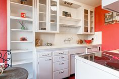 Open cabinets and built in pantry shelves