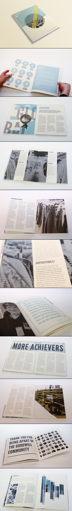 Goodwill Annual Report by Lauren Coleman Page Layout Design, Magazine Layout Design, Graphic Design Layouts, Graphic Design Print, Brochure Design, Graphic Design Inspiration, Design Web, Design Trends, Design Ideas