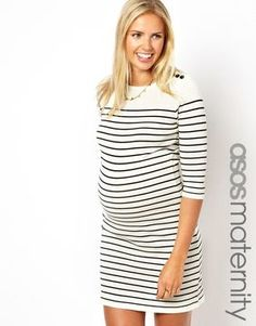 9ed1ac5bbd564e Asos Exclusive Dress In Breton Stripe With Button Shoulder - ShopStyle  Maternity