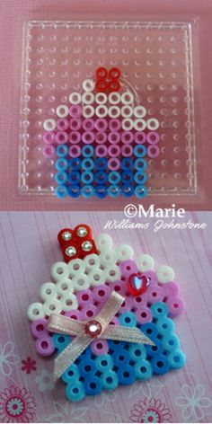 Cute cupcake design perler hama fused beads with bow and flat backed gems
