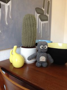 Crochet cactus and Robert the Robot❤️