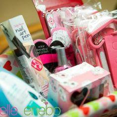 Teenage girl partty gifts. Nail polish, lotion, nail pens, nail care kits, makeup, ect.