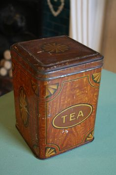 Vintage Inlaid Wood Effect Tea Caddy / Storage Tin – Kitchenalia – Great! – | eBay