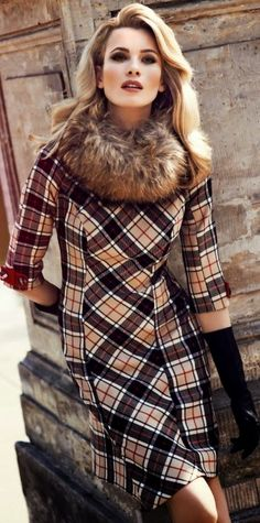 Warm dress best for fall - love this - anything with faux fur is right up my alley.