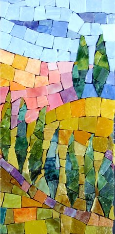 Cypress trees.  A lovely mosaic.  Brilliant colors.  By Pamela Goode Mosaics.  http://www.pamelagoodemosaics.com/gallery-2/wall-art-gallery-page/