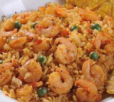 Rice with Shrimp Recipe - Recetas Shrimp And Rice Recipes, Seafood Recipes, Mexican Food Recipes, Kitchen Recipes, Cooking Recipes, Colombian Food, Peruvian Recipes, Healthy Recipes, Rice Dishes