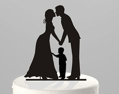 Wedding Cake Topper Silhouette Groom and Bride with little Boy, Family Cake Topper BLACK Acrylic [CT62b]