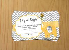 Elephant Baby Shower Diaper Raffle Ticket Diaper Raffle Card Diapers Raffles Baby Shower Games yellow Printable Digital Files on Etsy, $3.00