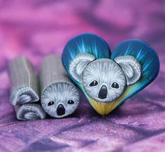 ITTY-BITTY length Koala Head and Ears Kit -Set of 3 Polymer Clay Canes (example project shown, not included) Polymer Clay Canes, Polymer Clay Jewelry, Rainbow Colors, Cute Dogs, Etsy Seller, Sculpture, Creative, Handmade, Animals