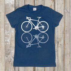 Bicycle Shirt Hand Screen Print Women T shirt Road by smiletee, $16.00