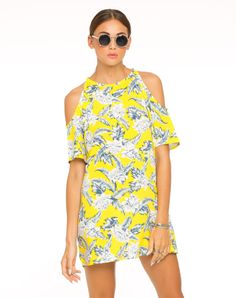 Motel Savannah Cold Shoulder Dress in Dahlia Citrus, TopShop, ASOS, House of Fraser, Nasty gal