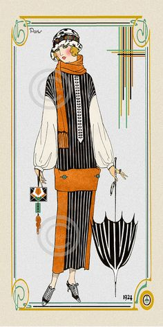 Art Deco Flapper Fashion Print, Lady Model,  Dressed in black and white, Scarf and Umbrella, deco hat, Giclee Fine Art Print, 10x20, 1925
