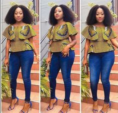 Creative Ankara Tops on Jeans for Beautiful Ladies.Creative Ankara Tops on Jeans for Beautiful Ladies African Fashion Designers, Latest African Fashion Dresses, African Dresses For Women, African Print Fashion, Africa Fashion, African Attire, African Wear, African Women, African Prints